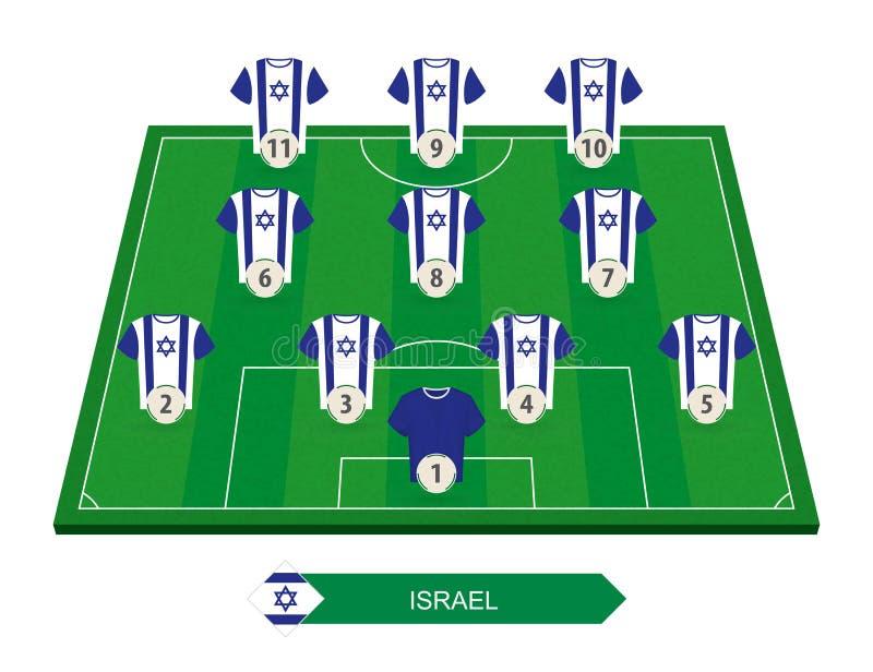 Programma della squadra di football americano di Israele sul campo di calcio per footbal europeo illustrazione vettoriale