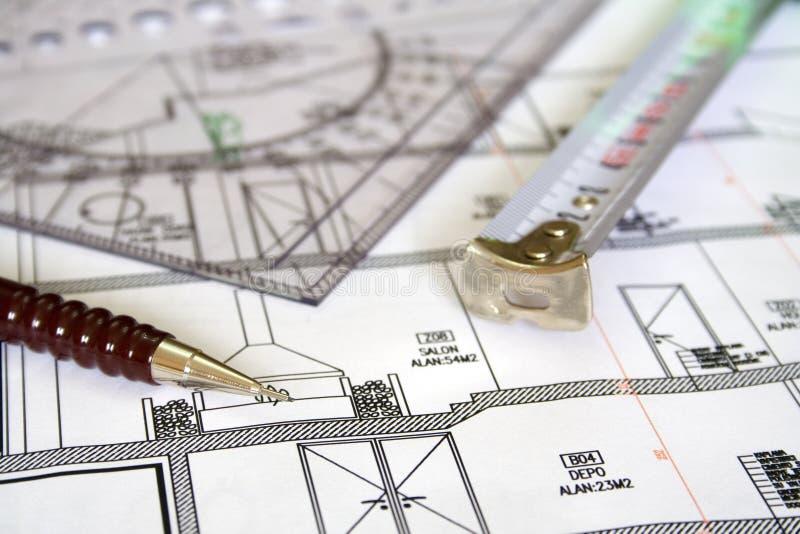 disegni di architettura e di ingegneria fotografia stock