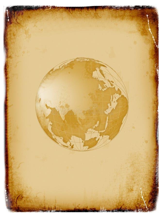 Programma di mondo antico, globo, priorità bassa del grunge illustrazione di stock