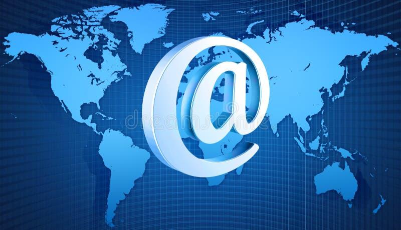 Programma di mondo con il simbolo del email illustrazione di stock