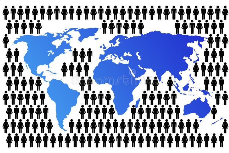 Programma di mondo con popolazione illustrazione vettoriale