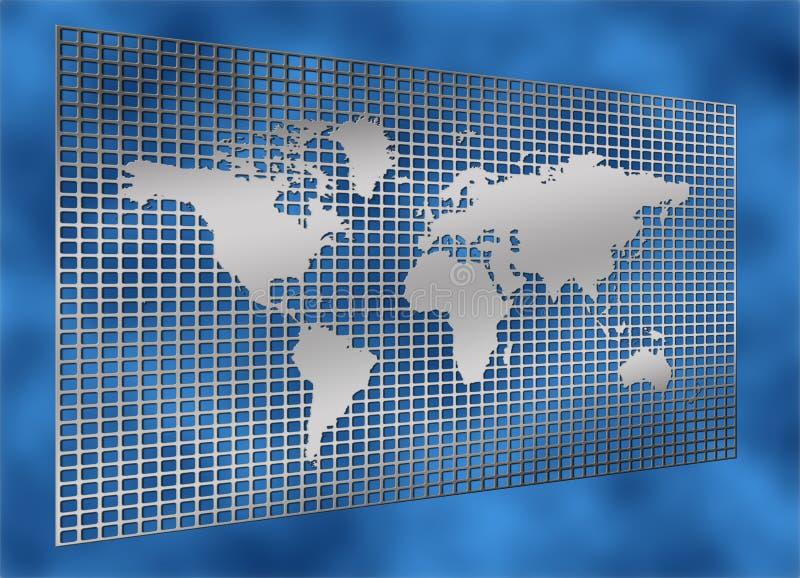 Programma di mondo di griglia del metallo illustrazione di stock