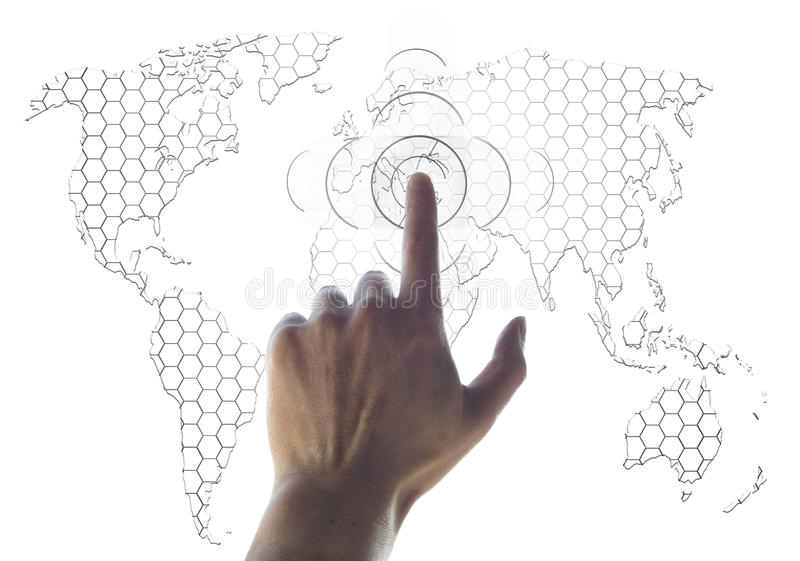 Programma di mondo e della mano immagini stock libere da diritti
