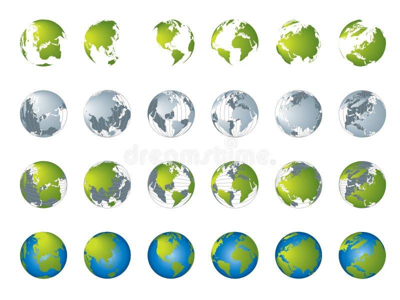 Programma di mondo, serie del globo 3D illustrazione di stock
