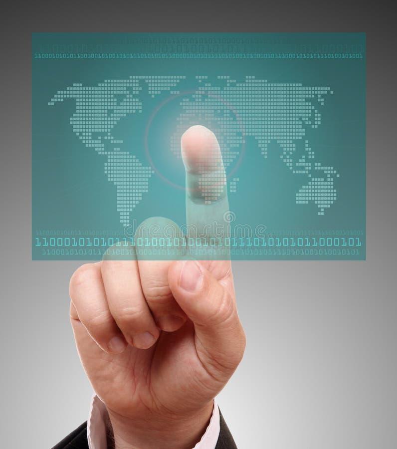 Programma di mondo su uno schermo di tocco immagine stock libera da diritti