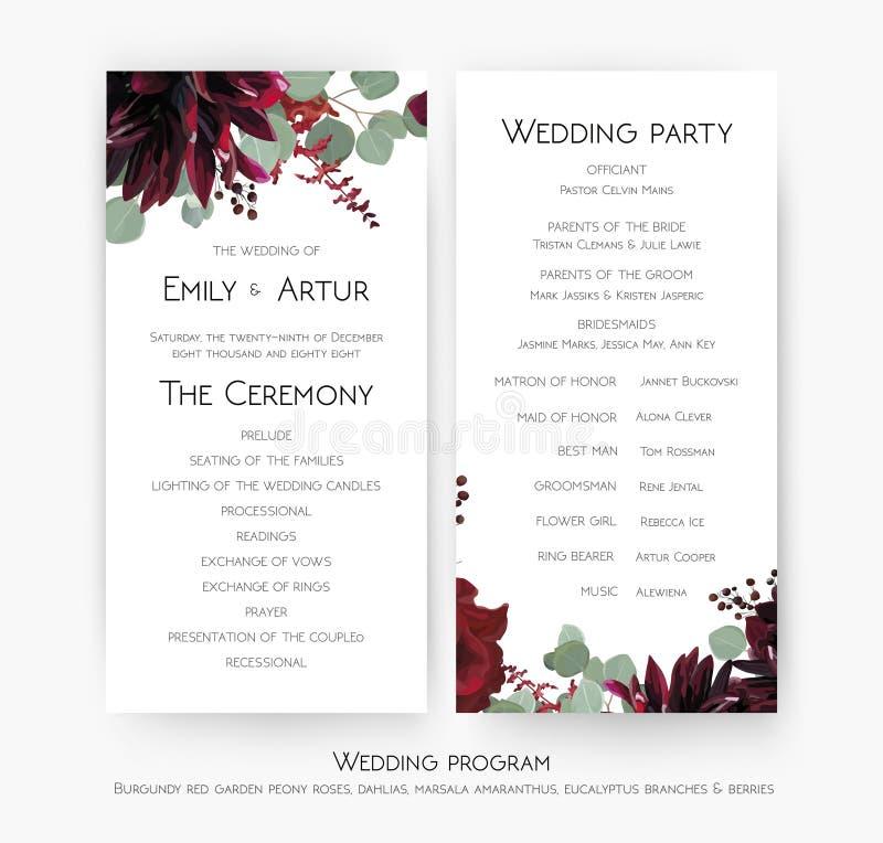 Programma di nozze per progettazione di carta di cerimonia & del partito con la rosa rossa f royalty illustrazione gratis