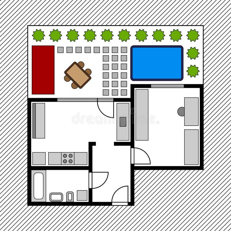 Programma di pavimento della Camera con il giardino royalty illustrazione gratis