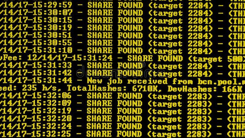 Programma di processo di Cryptocurrency di estrazione mineraria sul PC dell'esposizione Facendo uso di software Parte trovata fotografie stock