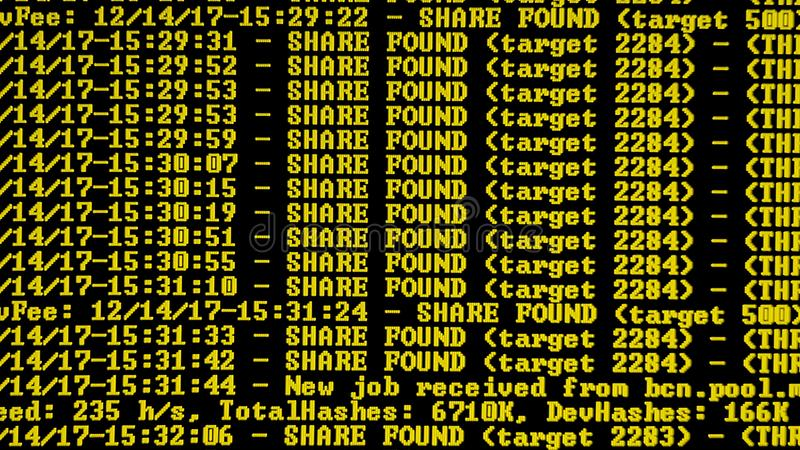 Programma di processo di Cryptocurrency di estrazione mineraria sul PC dell'esposizione Facendo uso di software Parte trovata fotografie stock libere da diritti