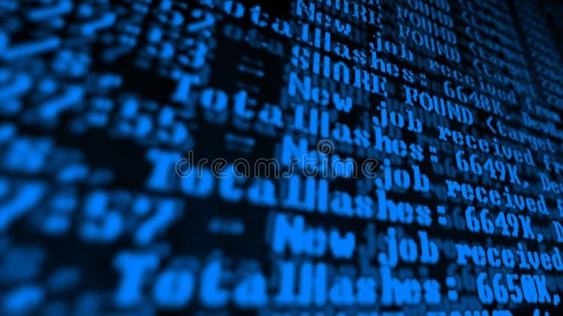 Programma di processo di Cryptocurrency di estrazione mineraria sul PC dell'esposizione Facendo uso di software Parte trovata immagini stock libere da diritti