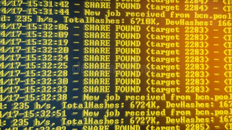 Programma di processo di Cryptocurrency di estrazione mineraria sul PC dell'esposizione Facendo uso di software Parte trovata fotografia stock libera da diritti