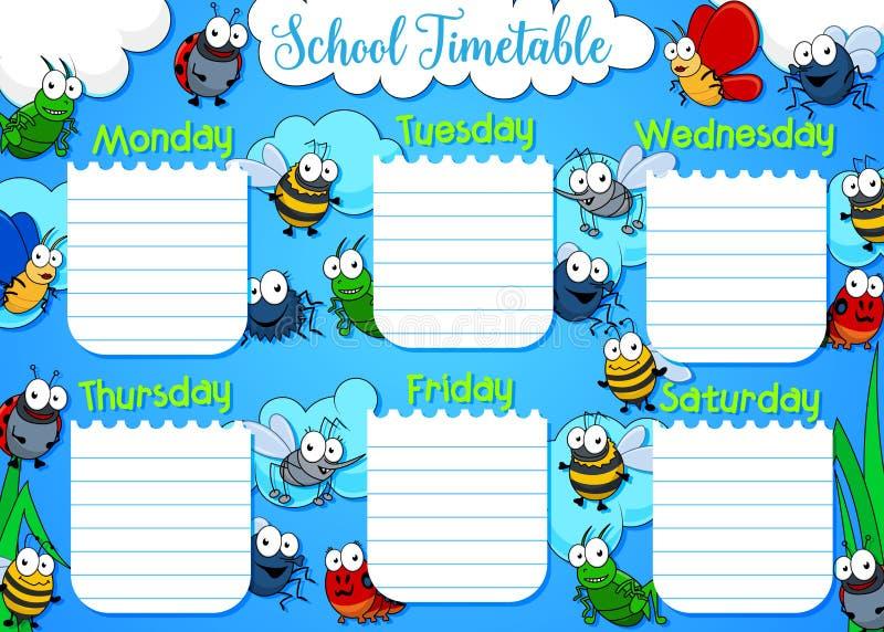 Programma di settimana dell'orario della scuola, insetti del fumetto illustrazione vettoriale