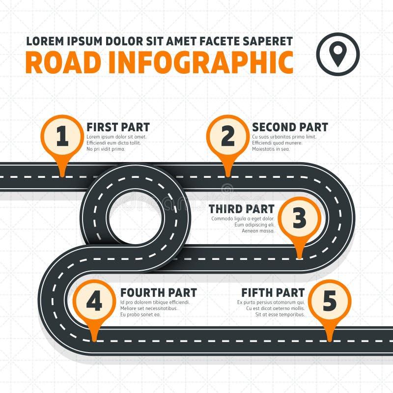 Programma di strada, via, infographics moderno di affari di vettore della strada principale illustrazione di stock