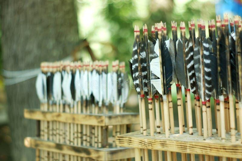 Programma di vecchie frecce d'annata di tiro con l'arco della piuma fotografia stock
