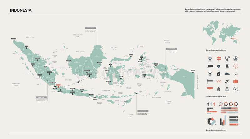 Programma di vettore dell'Indonesia Alta mappa dettagliata del paese con divisione, le citt? e la capitale Jakarta Mappa politica illustrazione vettoriale