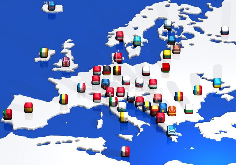 Programma e bandierine dell'Europa royalty illustrazione gratis