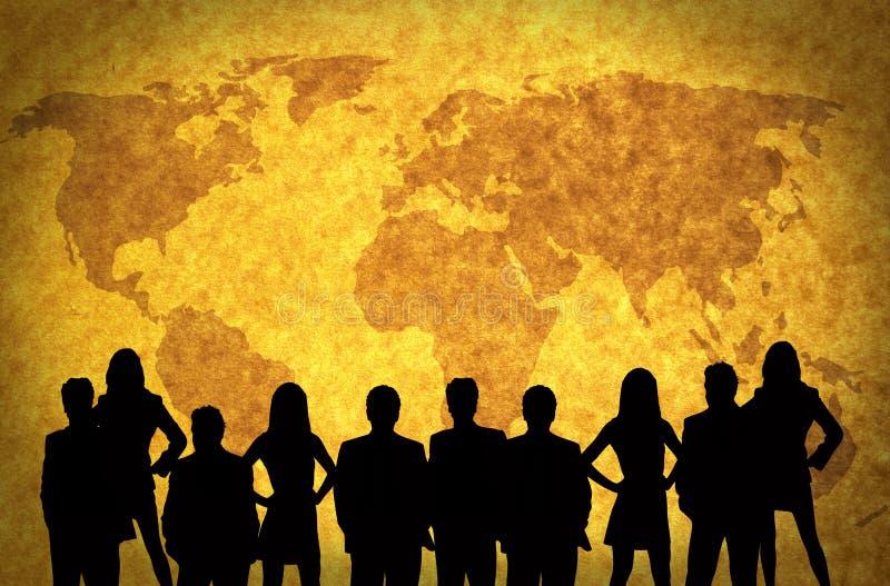 Programma e gente di affari di mondo illustrazione di stock