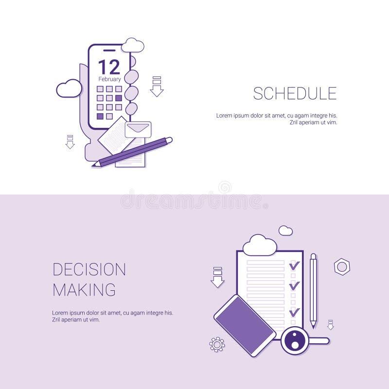 Programma en Besluit die - het Webbanner van het Conceptenmalplaatje met Exemplaarruimte maken vector illustratie