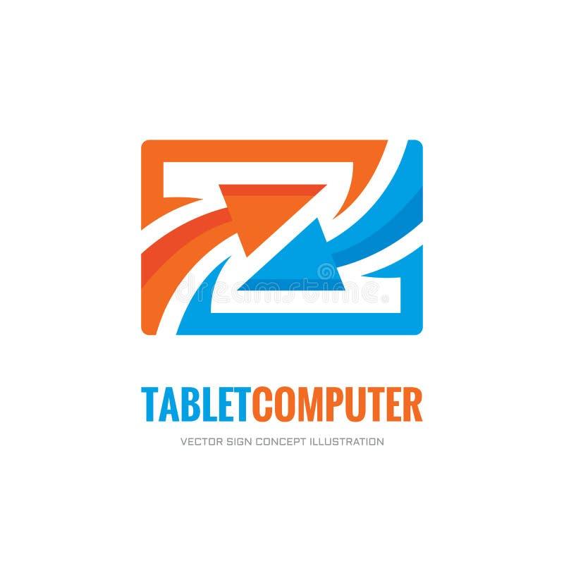 Programma - illustrazione creativa del modello di logo di vettore Computer e frecce della compressa royalty illustrazione gratis