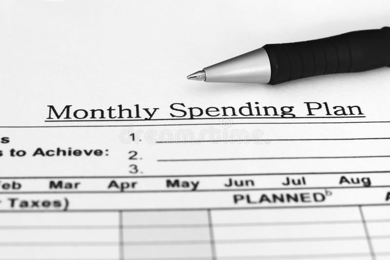 Programma mensile di spesa fotografie stock
