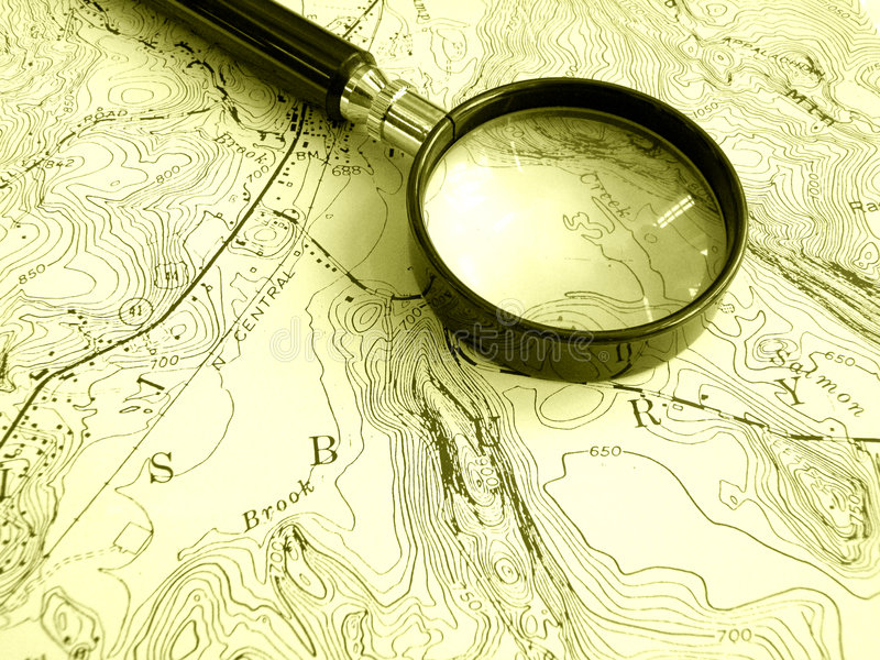 Programma topografico con il magnifier fotografie stock libere da diritti