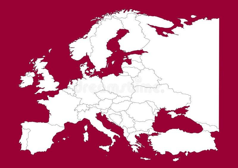 Programma vectorial dell'Europa su colore rosso illustrazione vettoriale