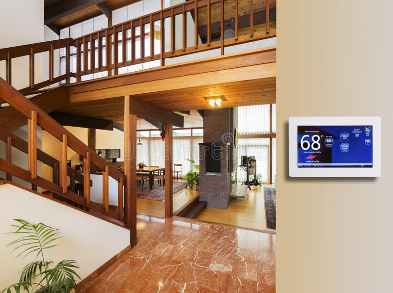 Programmable electronic thermostat stock photo