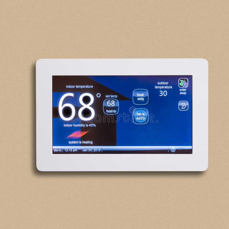 Programmable electronic thermostat, stock photo