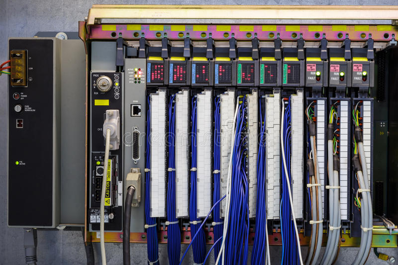 Programmable logic controller in industry stock image