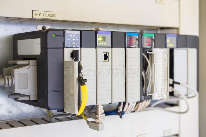 Programmable Logic Controller or PLC install for controlled oil and gas process. stock images