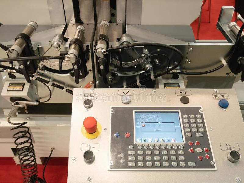 Programmable remote control CNC milling rolling machine with digital computer. industrial equipment at factory, plant, facility royalty free stock photo