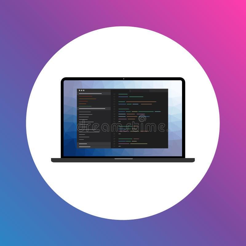 Programmanöverenhetssymbol på bärbar datorskärmen stock illustrationer
