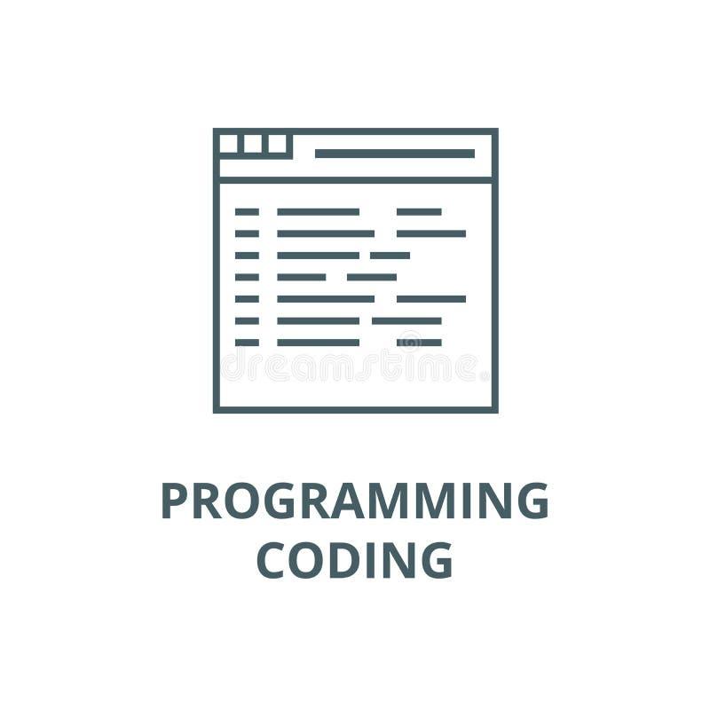 Programmation, codant la ligne icône de vecteur, concept linéaire, signe d'ensemble, symbole illustration libre de droits