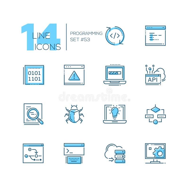 Programmation - ligne mince moderne icônes de conception réglées illustration stock