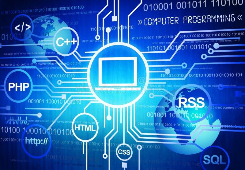 Programmation par ordinateur dans des affaires globales illustration libre de droits