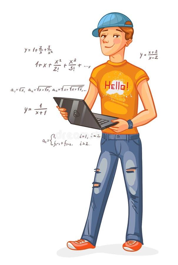 Programmatore con un computer portatile illustrazione vettoriale