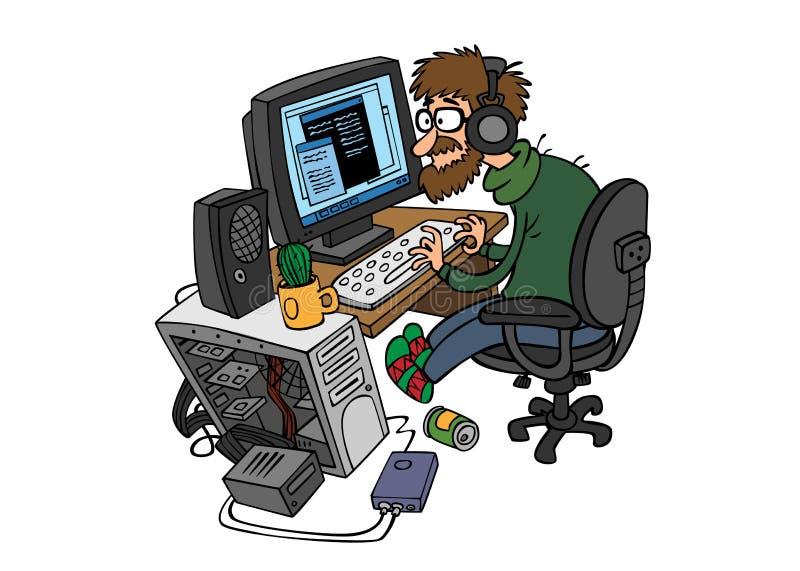 Programmatore del fumetto che lavora dietro il computer immagini stock libere da diritti