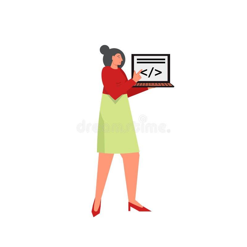 Programmatore professionista con il computer portatile, illustrazione piana di progettazione di stile di vettore illustrazione di stock