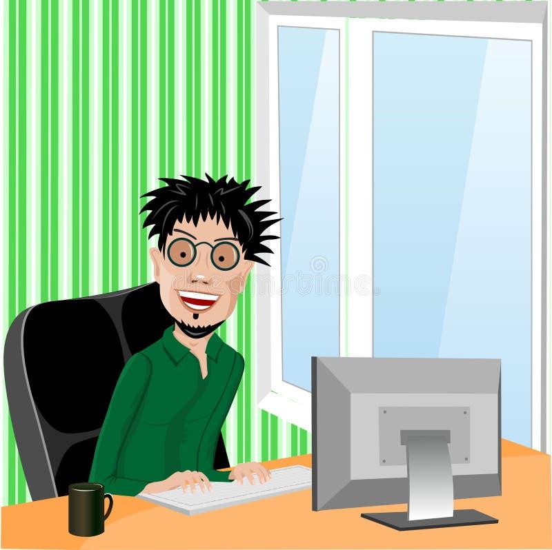 Programmatore sorridente pazzo con i vetri illustrazione vettoriale