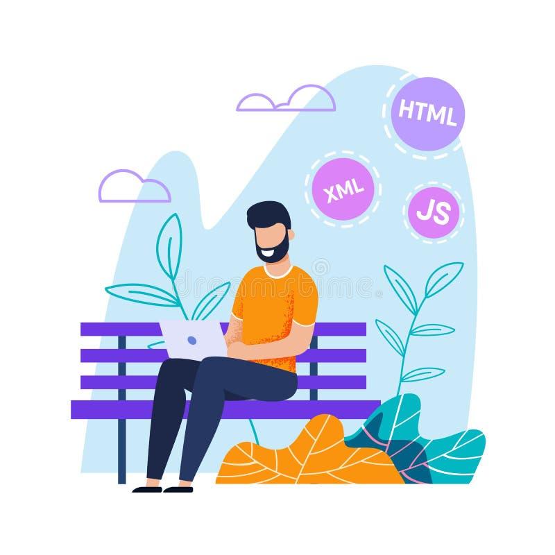 Programmatore Working sul computer portatile nel fumetto piano del parco royalty illustrazione gratis