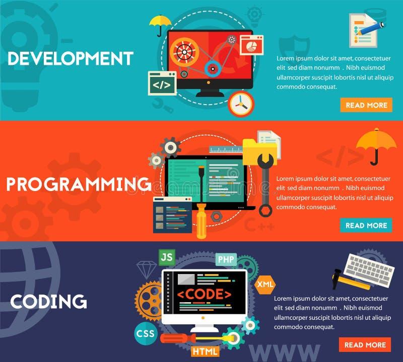 Programmazione, sviluppo e codificare le insegne di concetto royalty illustrazione gratis