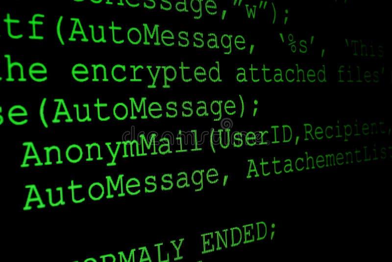 Programmcode auf einem Monitor lizenzfreie stockbilder