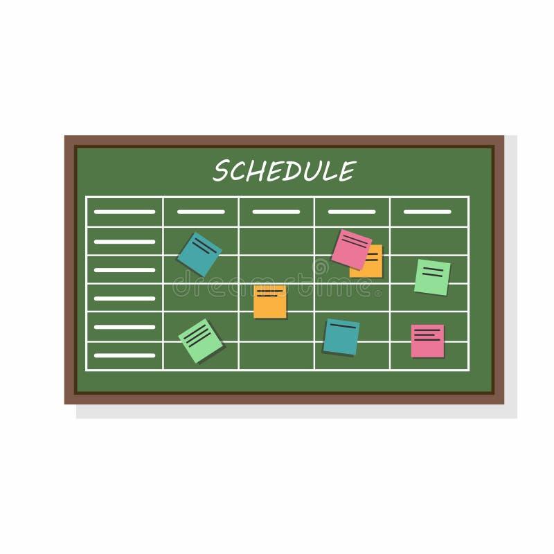 Programme de calendrier avec le plan et les autocollants de collaboration Travail de planification des affaires ou d'établissemen illustration libre de droits