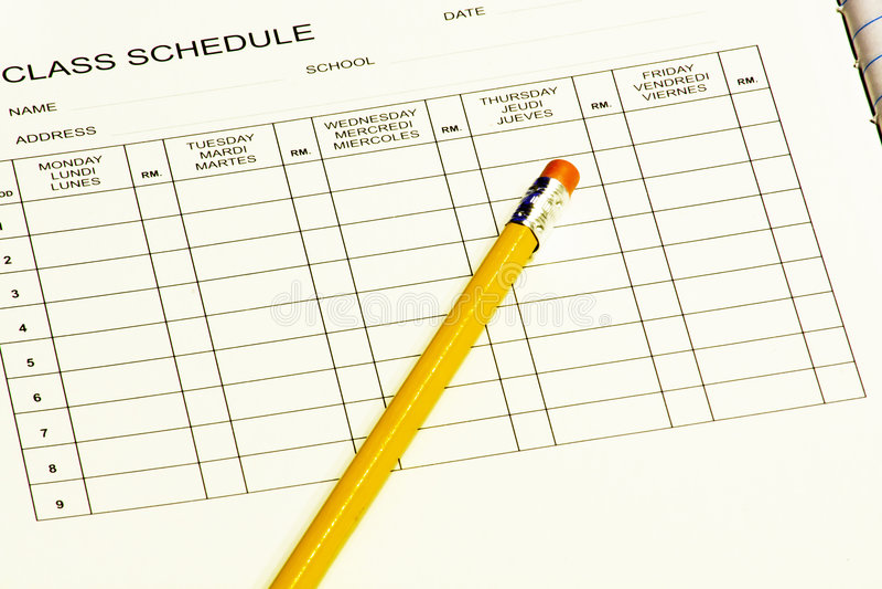 Programme de classe avec le crayon photo libre de droits