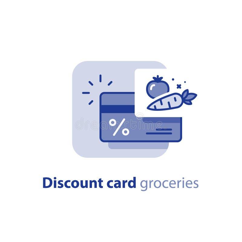 Programme de fidélité, carte de remise d'épicerie, points pour l'achat, ligne icône illustration de vecteur