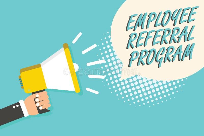 Programme de référence des employés des textes d'écriture de Word Le concept d'affaires pour des employés recommandent l'homme qu illustration stock