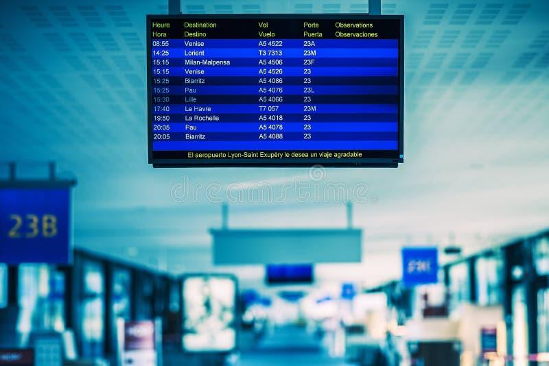 Programme de vol d'aéroport image stock