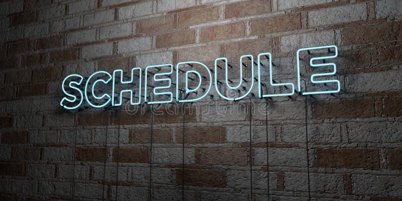 PROGRAMME - Enseigne au néon rougeoyant sur le mur de maçonnerie - 3D a rendu l'illustration courante gratuite de redevance illustration de vecteur