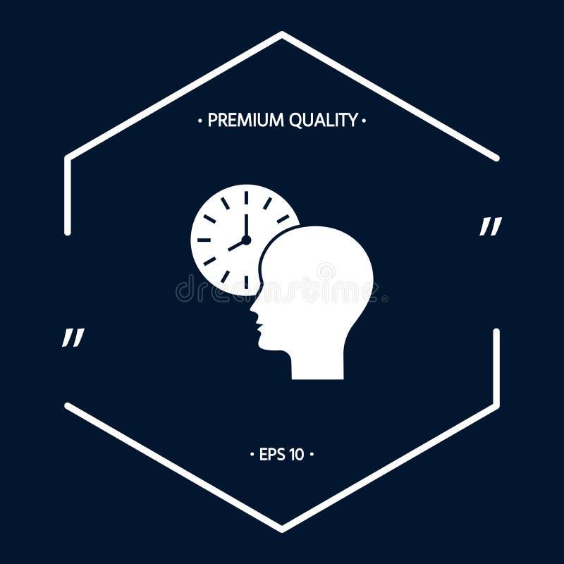Programme personnel, gestion du temps, personne avec l'icône de montre illustration de vecteur