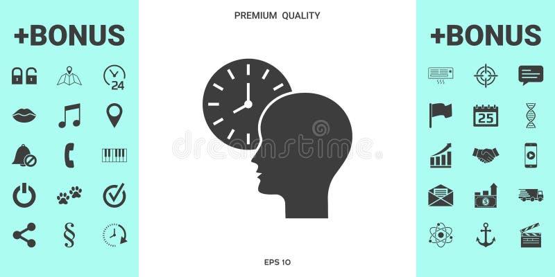 Programme personnel, gestion du temps, personne avec l'icône de montre illustration libre de droits